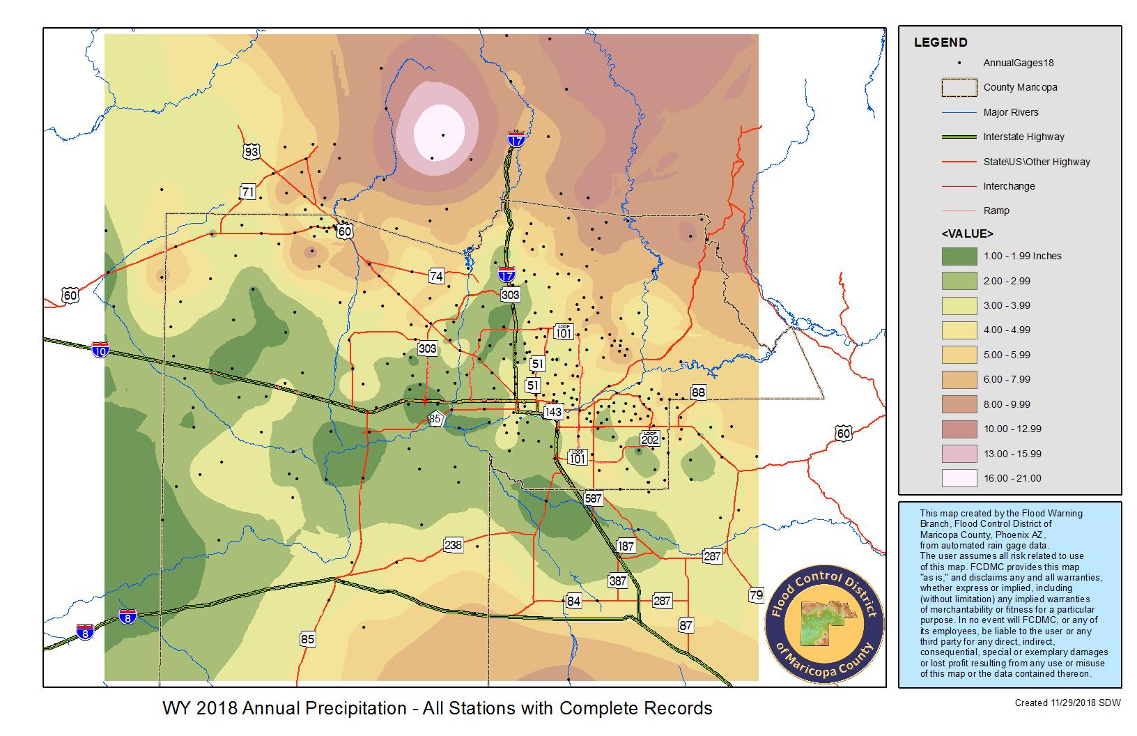 Rainfall Data   Maricopa County, AZ
